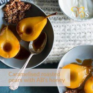 Caramelised Honey Pear Recipe with AB's Honey