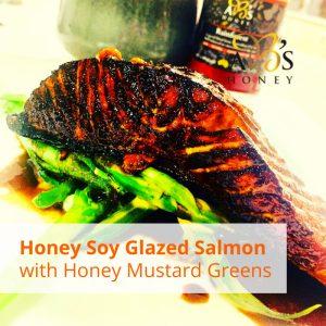 Honey-Soy-Glazed-Salmon-with-Honey-Mustard-Greens Recipe