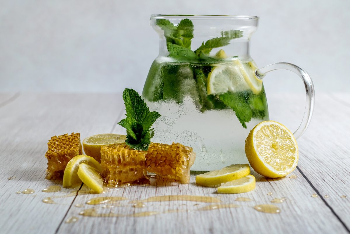 Lemon water with honeycomb